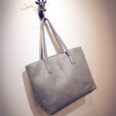 Retro casual women large capacity luxury handbags girl scrub leather tote bag ladies black grey designer shopping shoulder bag *** Continue to the product at the image link.