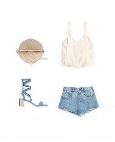 Look 5: Rachel Comey Baan Bag in Grey; H&M Satin Camisole Top; Zara High Rise Denim Shorts; Topshop Delilah Tie-Up Sandal