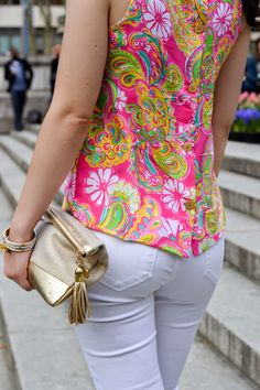 d5eade8ea473 Lilly Pulitzer Iona Sleeveless Silk Shell Top in Hotty Pink Double Trouble  Engineered worn by