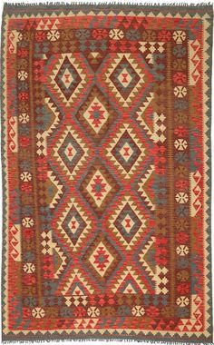 Kilim Afghan Old style rug 6′1″x9′9″