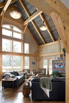 SummitView Southern Yellow Pine Timber Frame Home – Breckenridge, CO - Woodhouse The Timber Frame Company A Frame Cabin, A Frame House, Home Office, Pine Timber, Timber Frame Homes, Timber Frames, Exposed Beams, Wide Plank, Home Decor Bedroom