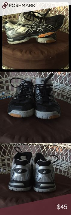"""Asics volleyball shoes size 9.5 These were worn for about 3-4 months and ONLY indoors. They are in pristine condition. They are the """" gel rockets"""" and are silver and black. No longer needed as I no longer play the sport on a competitive level. Fits true to size. Asics Shoes Sneakers"""
