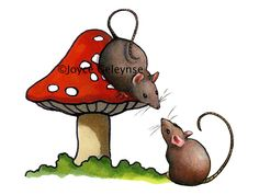 Clip Art Two Cute Mice with a Red by ToadstoolPrintables on Etsy, $4.00