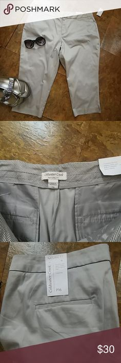 Nwt Coldwater Creek petite Capris New never worn. Lightweight, beautiful sstern finish to  to fabric. 18.5 in the waist, 22 in hip, 19.5 in length. Side slits in hem. Very well made with a touch of spandex. Don't miss out. Light gray color Coldwater Creek Pants Capris