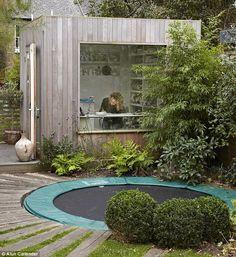"adamchristopherdesign: ""garden office with trampoline outside, as you do | adamchristopherdesign.co.uk """