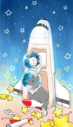 Hetalia Nekotalia RusAme. Russia-cat and Americat make cute space explorers!