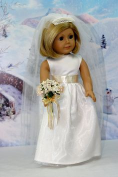 American Girl doll fashion wedding dress with off-white ribbon embellishment by ElegantDollFashions on Etsy