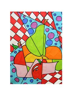 art history and painting activity lesson  for children Cubism...