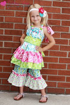 Harpers top and dress PDF pattern from create kids couture. Shown with the Olivia's ruffle pants/ capris!