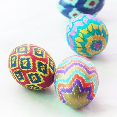 Decorate Easter eggs with Sharpie inspired by the patterns and vibrant colours of Ikat Fabric.