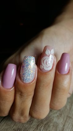 Pink rose nails #rose #pink #mmynails&beauty