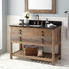 "48"" Benoist Reclaimed Wood Console Vanity for Undermount Sink - Gray Wash Pine"