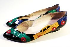 """Very Cool Vintage 80s-90s PARADOX by Zalo Leather Shoes, Car Appliques, 1"""" Heel"""