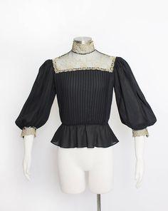 Vintage 1970s Blouse  Semi Sheer Black Chiffon Gold Lace