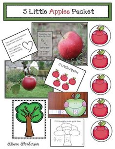Apple Activities: Cute & creative activities to go with the poem/song 5 Little Apples in an Apple Tree. Really like the smiling little apple manipulatives that you take off the empty apple tree poster. Apple Activities, Creative Activities, Craft Activities, Apple Games, Creative Kids, Alphabet Activities, Toddler Activities, Numbers Kindergarten, Kindergarten Activities