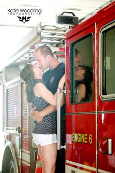 Katie Woodring Photography Firefighter engagement, firefighter wedding, firefighter love, Covington, KY fire department