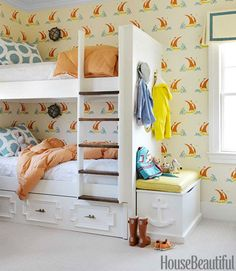 Great combination of wallpaper and fabrics for boys room!