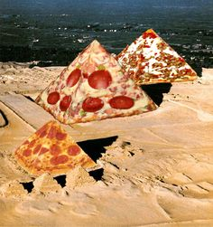 The original pyramids were constructed from leftover pizza. Collages, Surreal Collage, Collage Art, Food Collage, Pizza Art, Pizza Food, Pizza Pizza, Pizza Planet, I Love Pizza