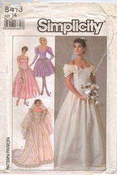 80s Simplicity Pattern 8413 Womens Brides and by CloesCloset, $10.00