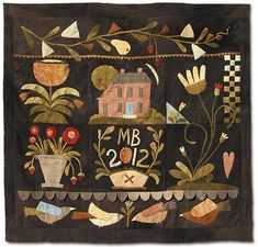 Wool Applique Pattern Tavern House Bedcover Designed by Maggie Bonanomi - Kit Option Available Motifs Applique Laine, Wool Applique Quilts, Applique Quilt Patterns, Wool Quilts, Felt Applique, Hand Applique, Felt Patterns, Primitive Quilts, Primitive Folk Art
