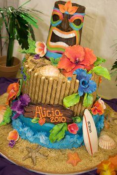 WOW is all I can say!! Luau Beach Graduation Cake