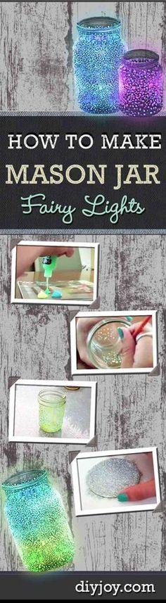 Easy Crafts For Kids To Make At Home | DIY Mason Jar Fairy Lights Tutorial | DIY JOY http://diyjoy.com/diy-mason-jar-ideas-fairy-lights