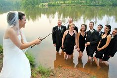 Bride Fishing for Bridal Party