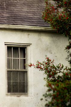 Old White Cottage Window Photograph, Architecture Photo, Shabby Chic, Modern Vintage Decor, White Gray Green and Red Color Wall Print