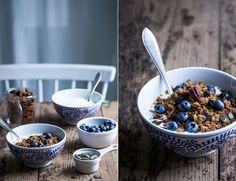 Luxurious granola with Roasted White Chocolate, Dried Blueberries & Pecans Made By Mary, Granola, Dried Blueberries, White Chocolate, Food Art, Nutella, Blueberry, Food Photography, Roast