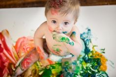9 month baby photo! Baby paint-session!! This is my baby Ryder & I made edible paint...  He loved it & our photos are priceless :)
