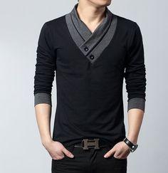 Men's Street Style Shawl Collar Top                              …