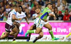 Josh Papalii of the Raiders makes a line rbeak to score during the round eight NRL match between the Canberra Raiders and the Manly Sea Eagles at GIO Stadium on April 21, 2017 in Canberra, Australia.