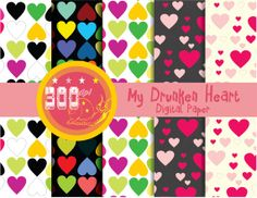 Hearts digital paper 'my drunken heart' multi color love hearts, say I love you in style with love hearts paper Digital Scrapbook Paper, Digital Papers, Digital Backgrounds, Paper Hearts, Love Heart, Design Elements, Planners, Scrapbooking, Unique Jewelry