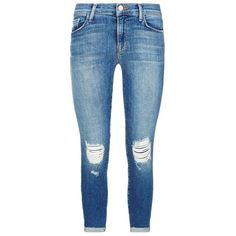 J Brand Distressed Mid-Rise Capri Jeans ($355) ❤ liked on Polyvore featuring women's fashion, jeans, pants, bottoms, torn skinny jeans, super skinny jeans, destructed skinny jeans, mid rise skinny jeans and j-brand skinny jeans