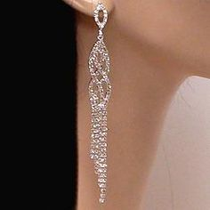 BEAUTIFUL RHINESTONE SHOULDER DUSTER EARRINGS 4 ½ inches | eBay