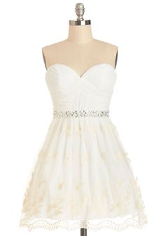 Graduation Dance Dress. Youve aced your exams and impressed the profs with your work - now its time to celebrate receiving your diploma in this white fit and flare! #white #prom #modcloth