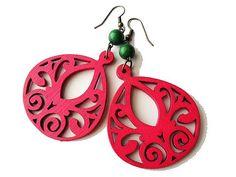 Bright Fuchsia Pink Wooden Earrings by marygracejewellery on Etsy