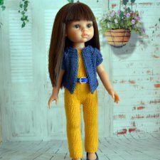 Описание вязания спицами комплекта одежды для куклы — PDF-документ, который содержит подробное описание вязания всех деталей комбинезона (два варианта верха) / 200р