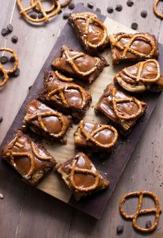 Beer Caramel Pretzel Cookie Bars via The Baker Chick