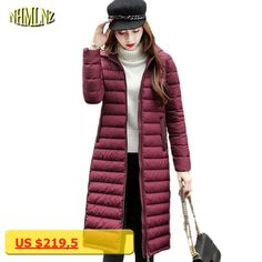 2017 New Winter Long Down Jacket High quality hooded Korean style Comfortable Solid color Warm Down Coats Fashion Jacket WKM364