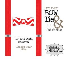 PRINTABLE Bowtie and Suspenders Red and White by ChickadeeDigital, $2.50