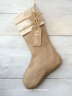 My Christmas Decor Styles: I like this because we could add names as the years go by and as guests vary. Burlap Christmas Stocking Embellished with Gold by Country Christmas, Winter Christmas, Christmas Holidays, Christmas Swags, Nordic Christmas, Christmas Candles, Modern Christmas, Burlap Christmas Stockings, Burlap Stockings