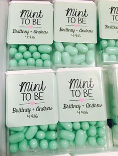 Personalized stickers on Tic Tacs for wedding favors / http://www.himisspuff.com/mint-and-yellow-wedding-ideas/3/