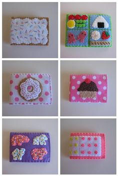 mini needlebooks or could be a badge.  I love the bottom left hand corner one the best!