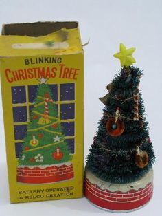 50's Japan vintage Blinking Xmas Tree, battery operated Christmas toy