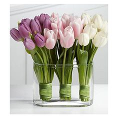 ARTIFICIAL TULIPS Flower ARRANGEMENT Pink White and Purple Modern... ❤ liked on Polyvore featuring home, home decor, floral decor, modern home decor, artificial arrangement, artificial flower stems, tulip centerpieces and glass centerpieces