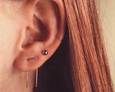 Double Piercing Earrings-Threader Earrings-Double Lobe Earrings-Double Threader Earrings-Double Piercing, Two hole Earrings-Staple Earrings