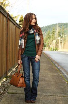 winter uniform. Plaid oversized scarf. Dark green for fall. Brown leather jacket with flattering cut / style. Dark wash boot cut denim.