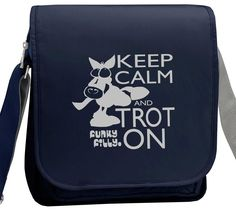 Silver Keep Calm and Trot On Horse Girls Cross Body Shoulder Bag Navy Blue