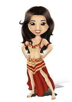 Personagem de Dança do Ventre Aminah do Central Dança do Ventre! http://www.centraldancadoventre.com.br/mascotes